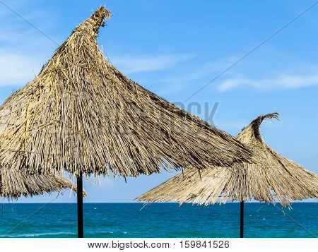 Thatched beach umbrellas and blue sky as background