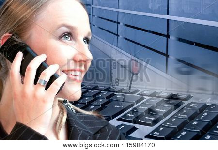 woman on cellphone with technology background