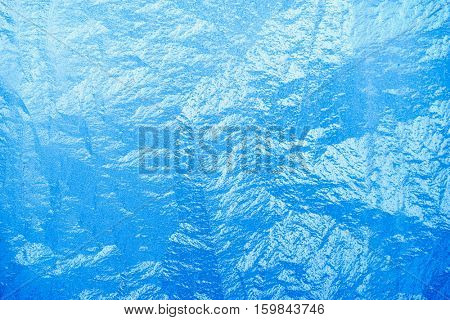 Turquoise Frost Background, Closeup Frozen Winter Window Pane Coated Shiny Icy Frost Patterns, Extreme North Low Temperature, Natural Ice Pattern on a Frosty Glass, Cool Winter Abstract Ice Glass