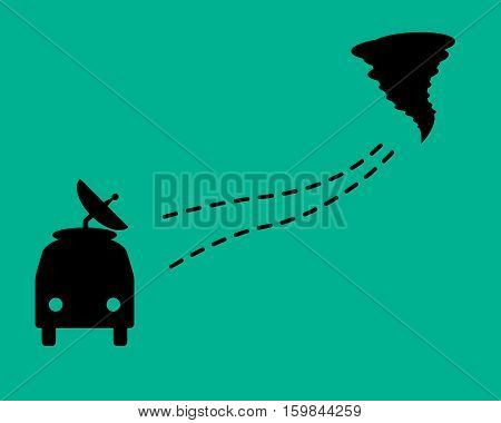 Search for tornadoes. A car with a dotted line and tornado. Flat design.