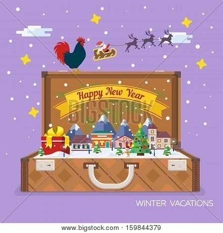 Merry Christmas and Happy New Year flat banner. Vector illustration for the website calendar ads banners. Winter landscape. Open suitcase with landmarks. Santa Claus and plane in the sky.