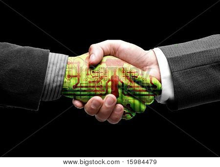 hand shake with technology