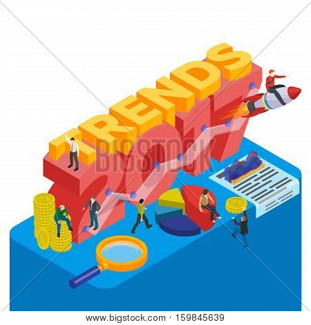 Flat 3d isometric banner. Infographic concept 2017 year of opportunities. Trends in the economy and finance, time management. Plans and expectations. Inspiration concept modern template layout.
