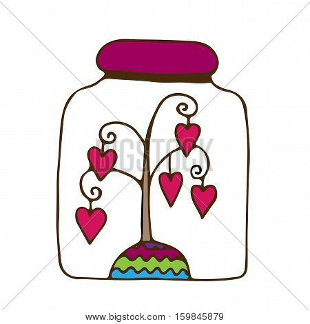 Glass jar with a tree with hearts inwardly. Vector illustration.