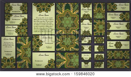 Business And Invitation Template Cards Set With Mandala Ornament. Vintage Decorative Elements. Islam