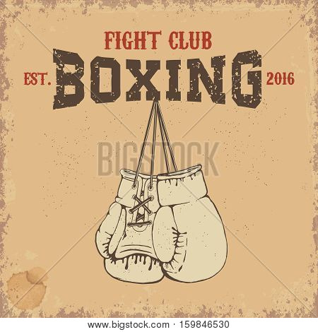 Boxing club emblem. Two boxing gloves in grunge style. Vector design element.