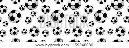Seamless football balls isolated on white background. Vector illustration