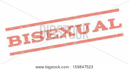 Bisexual watermark stamp. Text tag between parallel lines with grunge design style. Rubber seal stamp with dirty texture. Vector salmon color ink imprint on a white background.