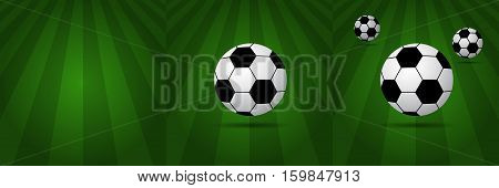Stylish Soccer Balls on green background. Vector illustration