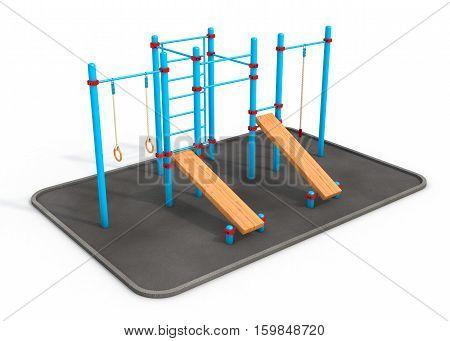 Fitness equipment for street workout. 3 D rendering