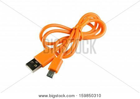Orange micro USB to USB cable on white background
