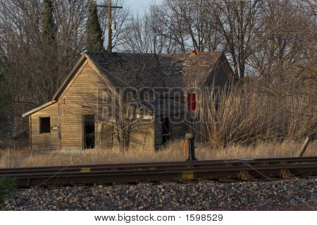 Old wooden house along the railroad