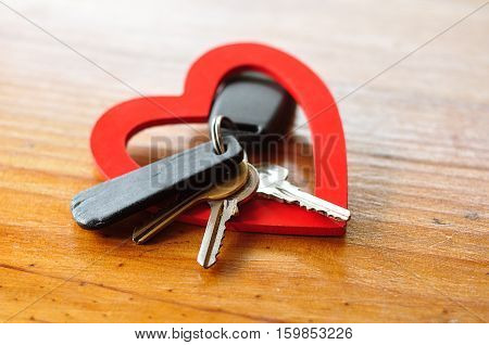 Valentines day. A set of keys displayed in red heart
