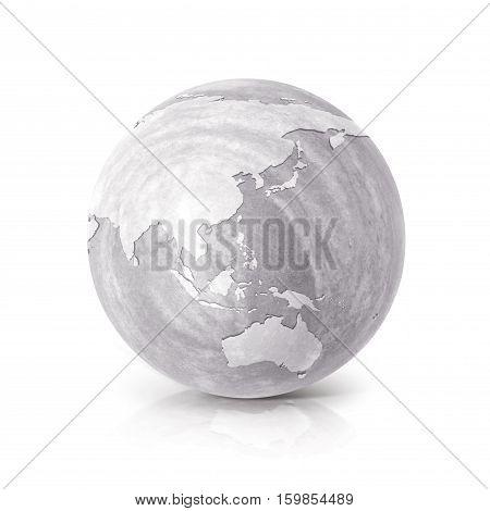 Cement globe 3D illustration Asia & Australia map on white background