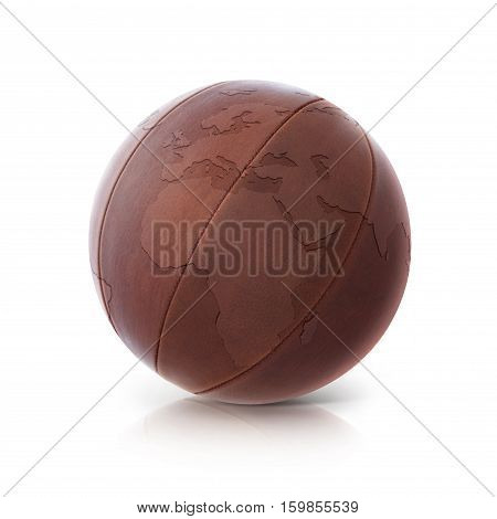 Leather globe 3D illustration europe and africa map on white background