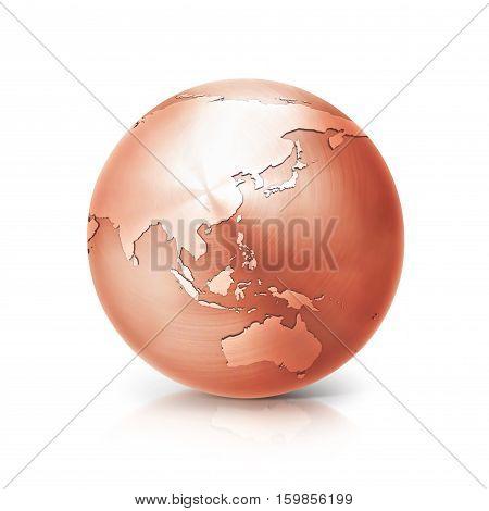 copper globe 3D illustration asia and australia map on white background
