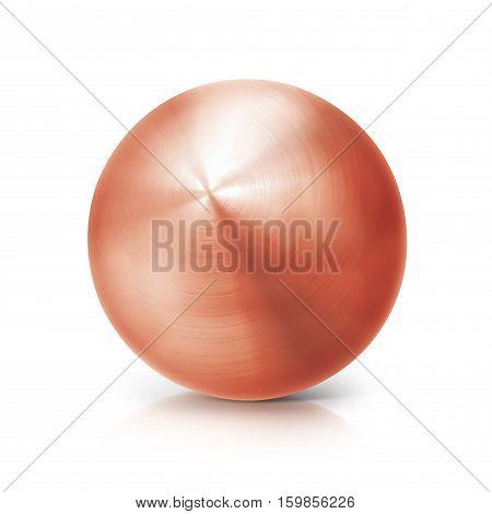 copper ball 3D illustration on white background