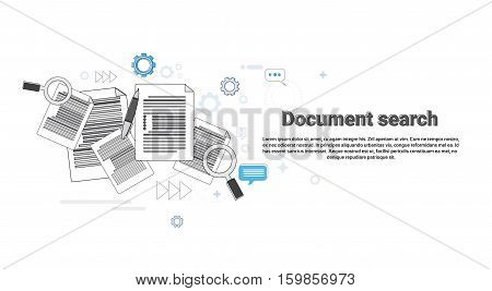 Paper Document Search Magnifying Glass Paperwork Business Web Banner Vector Illustration