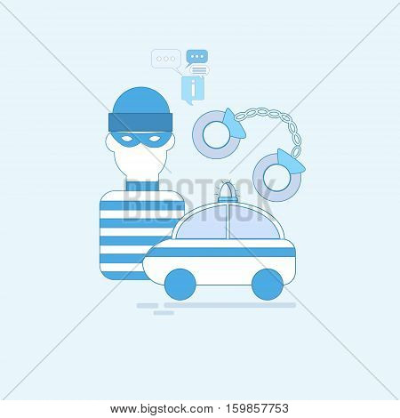 Alarm Thief Security Protection Insurance Web Banner Vector Illustration