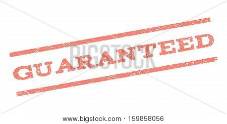 Guaranteed watermark stamp. Text caption between parallel lines with grunge design style. Rubber seal stamp with dirty texture. Vector salmon color ink imprint on a white background.
