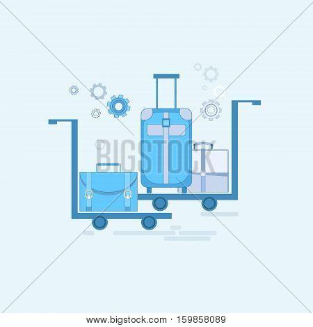 Luggage Departure Transportation Tourism Web Banner Vector Illustration