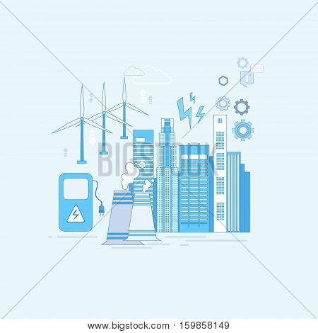 Electricity Generation Station Industry Web Banner Vector illustration