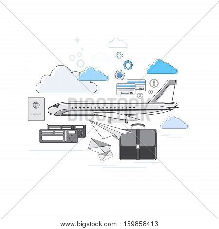 Passport Luggage Airplane Departure Transportation Air Tourism Web Banner Vector Illustration