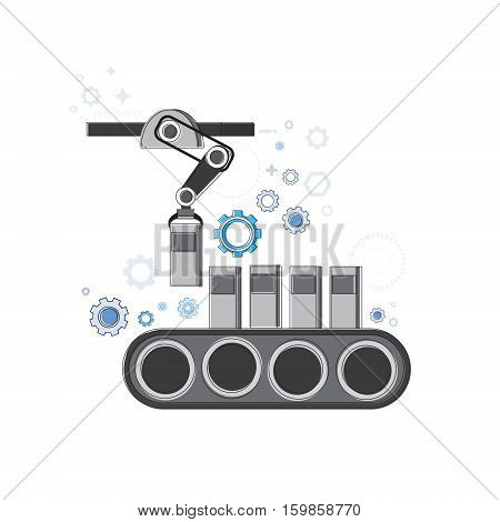 Robotic Assembly Line Industrial Automation Industry Production Web Banner Vector Illustration