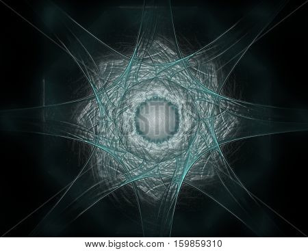 Particles of abstract fractal forms on the subject of nuclear physics science and graphic design. Geometry sacred futuristic quantum digital hologram texture in development wave surreal design. 3d