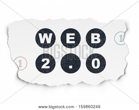 Web development concept: Painted black text Web 2.0 on Torn Paper background with Scheme Of Binary Code