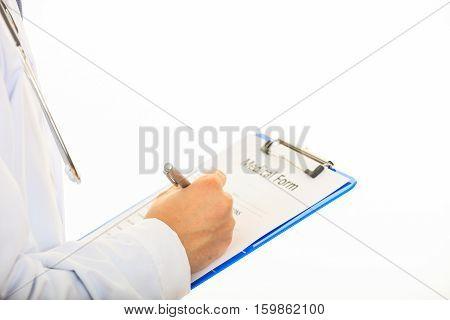 Doctor Holding A Clipboard On White Background