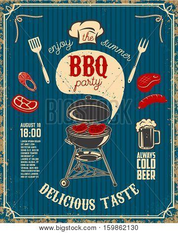 BBQ party vintage flyer on grunge background. Grill with kitchen tools steaks sausage. Design elements for restaurant menu poster. Vector illustration.