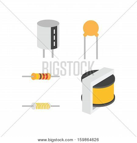 Electronic Components, Vector Of Icons By Eps10