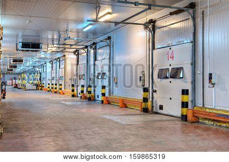 Saint-Petersburg Russia - October 31 2016: industrial loading dock area inside cold storage warehouse.