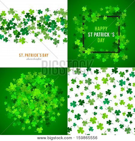 Set of St Patricks Day backgrounds. illustration for lucky spring design with shamrock. Green clover wave border isolated on green background. Ireland symbol pattern. Irish header for web site.