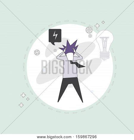Business Man Hold Head Pondering Problem Concept Vector Illustration