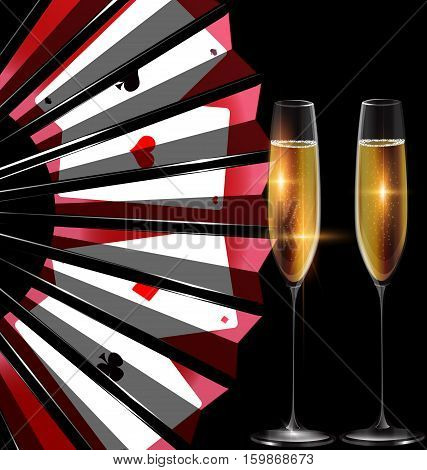 dark background with the black red fan with image of cards and two glasses of bubbles wine