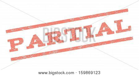 Partial watermark stamp. Text tag between parallel lines with grunge design style. Rubber seal stamp with unclean texture. Vector salmon color ink imprint on a white background.