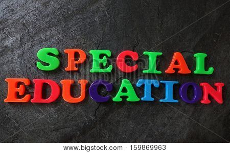 Special Education spelled out in play letters
