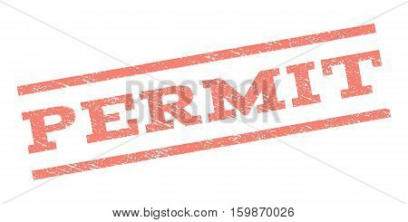 Permit watermark stamp. Text tag between parallel lines with grunge design style. Rubber seal stamp with dirty texture. Vector salmon color ink imprint on a white background.