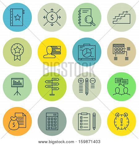 Set Of 16 Project Management Icons. Can Be Used For Web, Mobile, UI And Infographic Design. Includes Elements Such As Team, Project, Presentation And More.