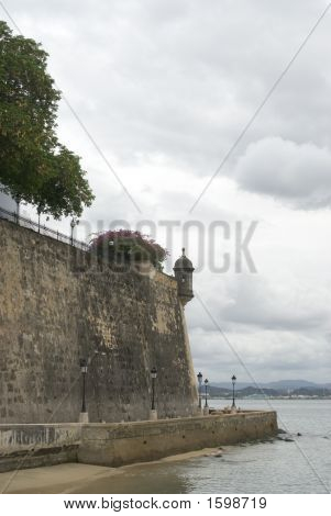 The Wall And Sentry Post Old San Juan