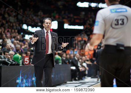 VALENCIA, SPAIN - DECEMBER 3: Pedro Martinez and Referee during spanish league match between Valencia Basket and Bilbao Basket at Fonteta Stadium on December 3, 2016 in Valencia, Spain