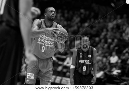 VALENCIA, SPAIN - DECEMBER 3: Will Thomas during spanish league match between Valencia Basket and Bilbao Basket at Fonteta Stadium on December 3, 2016 in Valencia, Spain