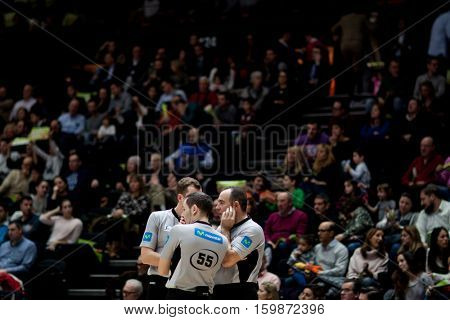 VALENCIA, SPAIN - DECEMBER 3: Referees during spanish league match between Valencia Basket and Bilbao Basket at Fonteta Stadium on December 3, 2016 in Valencia, Spain