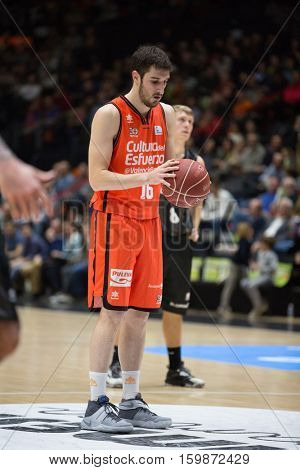 VALENCIA, SPAIN - DECEMBER 3: Guillem Vives during spanish league match between Valencia Basket and Bilbao Basket at Fonteta Stadium on December 3, 2016 in Valencia, Spain
