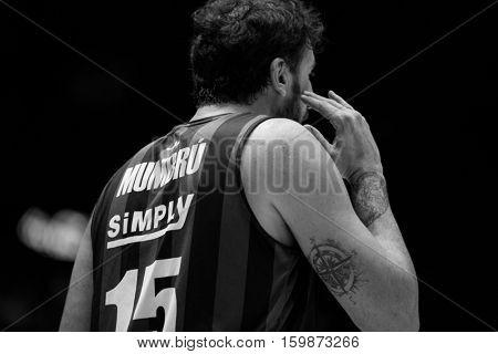VALENCIA, SPAIN - DECEMBER 3: Alex Mumbru during spanish league match between Valencia Basket and Bilbao Basket at Fonteta Stadium on December 3, 2016 in Valencia, Spain