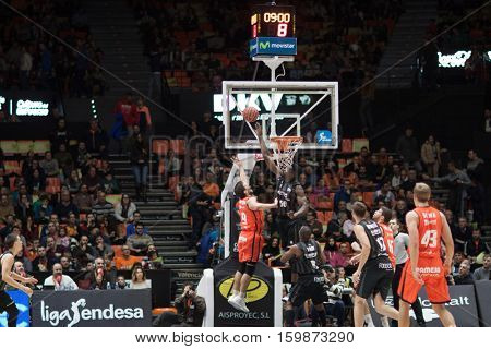 VALENCIA, SPAIN - DECEMBER 3: 9 Sam Van Rossom  during spanish league match between Valencia Basket and Bilbao Basket at Fonteta Stadium on December 3, 2016 in Valencia, Spain
