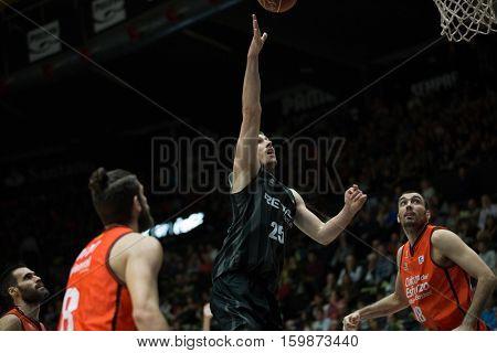 VALENCIA, SPAIN - DECEMBER 3: 25 Ivan Buva during spanish league match between Valencia Basket and Bilbao Basket at Fonteta Stadium on December 3, 2016 in Valencia, Spain