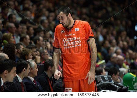 VALENCIA, SPAIN - DECEMBER 3: Pierre Oriola during spanish league match between Valencia Basket and Bilbao Basket at Fonteta Stadium on December 3, 2016 in Valencia, Spain